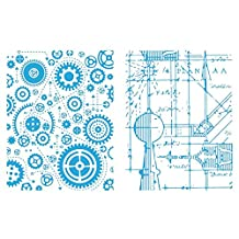Sizzix Texture Fades A2 Embossing Folders, Blueprint and Gears, 2-Pack