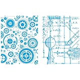 Sizzix Blueprint and Gears Set by Tim Holtz Texture Fades Embossing Folders, Pack of 2, Multi-Color