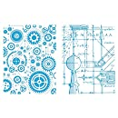 Sizzix Texture Fades A2 Embossing Folders, Blueprint and Gears, 2/Pack