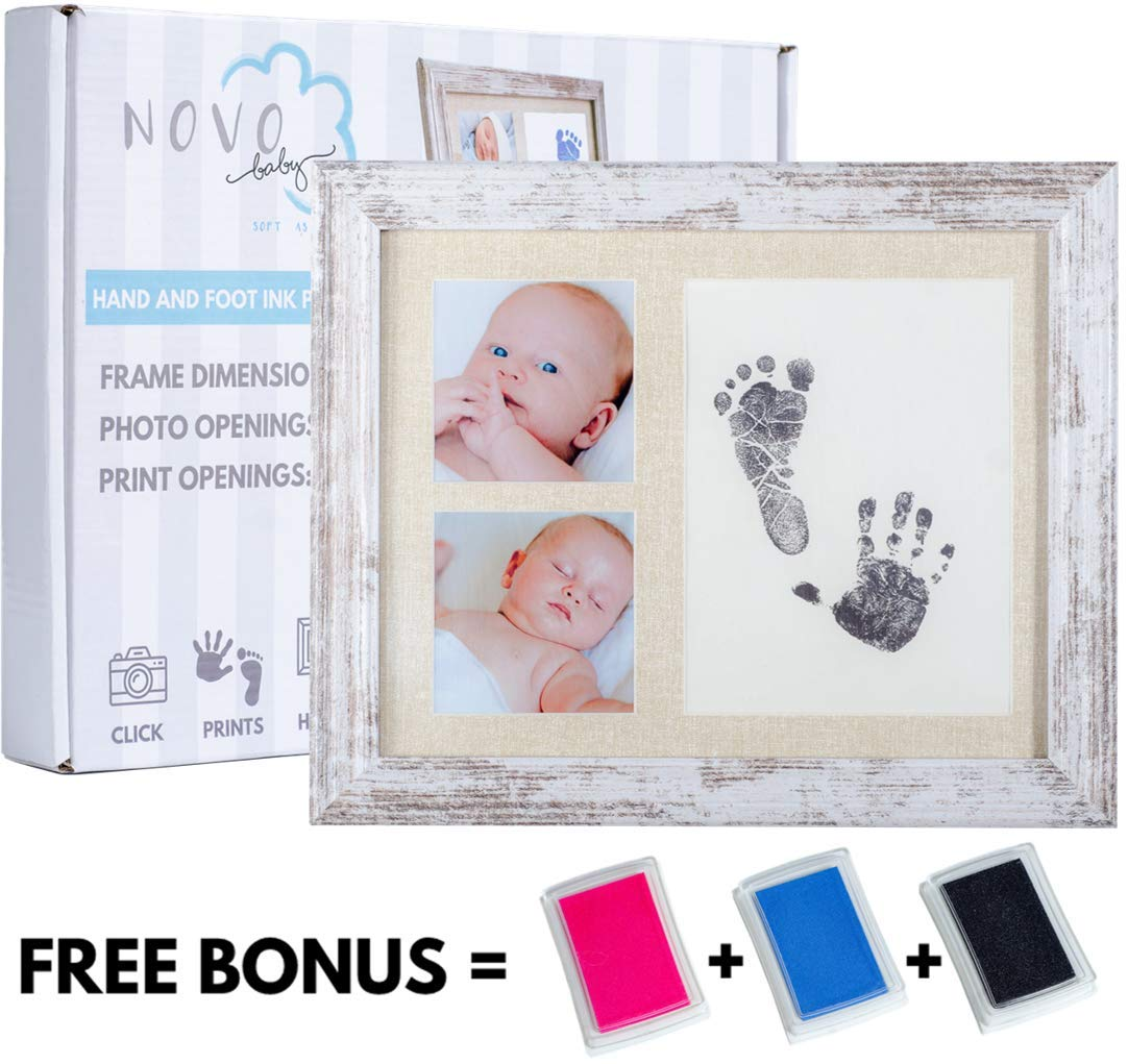 Baby Footprint Handprint Photo Frame Kit Includes 3 Ink Pads Pink Blue Black Perfect Baby Shower Gift for Boy Girl Newborn Keepsake Frame Foot Hand Impression