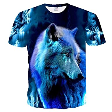 f1d655e392493 Amazon.com: Flame Wolf Printed 3D T-Shirts Tops Tees Short Sleeve ...