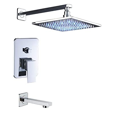 Rozin Wall Mounted Bathtub Shower Faucet Set Led Light 10 Inch