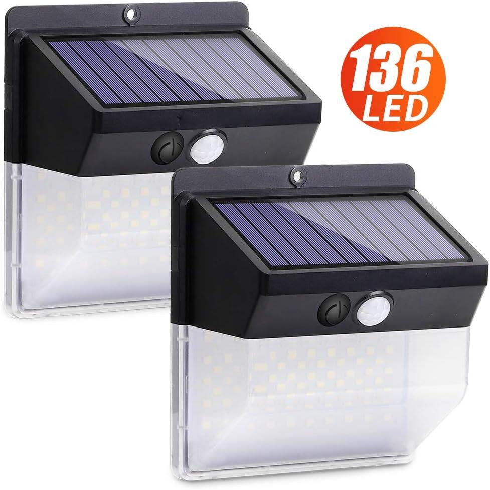 【136 LED/3 modos】Luz Solar Exterior, Luz de Seguridad Inalámbrica del Sensor de Movimiento Solar Luces Solares de 270°Aplique de Pared Solar para Puerta de Entrada Patio Garaje Jardín(Paquete de 2)