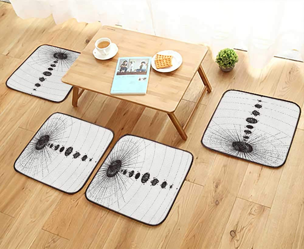 UHOO2018 Home Chair Set Solar System in dotwork Style Planets in Orbit Vintage Drawn Machine-Washable W21.5 x L21.5/4PCS Set