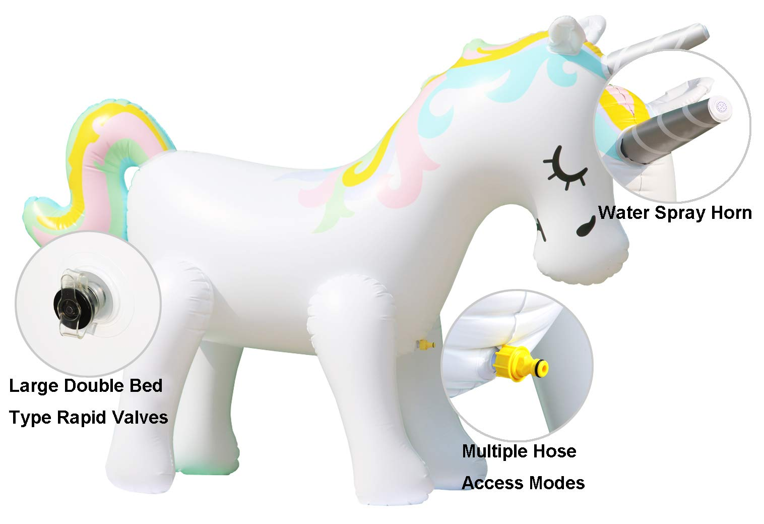 LANGXUN Ginormous Inflatable Unicorn Yard Sprinkler Toy for Kids, Perfect for Unicorn Party Supplies & Outdoor Summer Sprays Water Toys for Toddlers 5