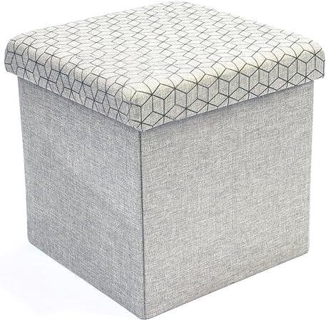 THE HOME DECO FACTORY CMHD3167 Caja-PUF Plegable Gris Claro, Lino, 37.5x37.5x37.5 cm: Amazon.es: Hogar