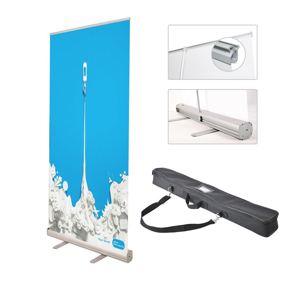Display Factory USA DFU Retractable Roll up Banner Stand Includes Bag Aluminum Silver Exhibition Display Trade Show Sign Holder (3680'')