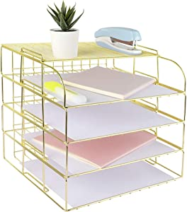 Spacrea Letter Tray, 4 Tier Rose Gold Desk Organizers and Accessories for Women, Stackable Paper Tray Organizer Desk File Organizer with 1 Upper Display Shelf (Gold)