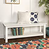 50-inch Country Style Entry Bench with Slatted Shelf Black