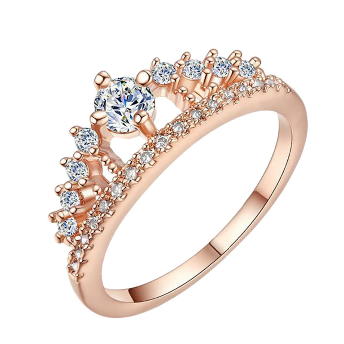 Freedi Women Crystal Diamond Engagement Wedding Ring Fashion Jewelry Gift for Girls Size 6 Gold