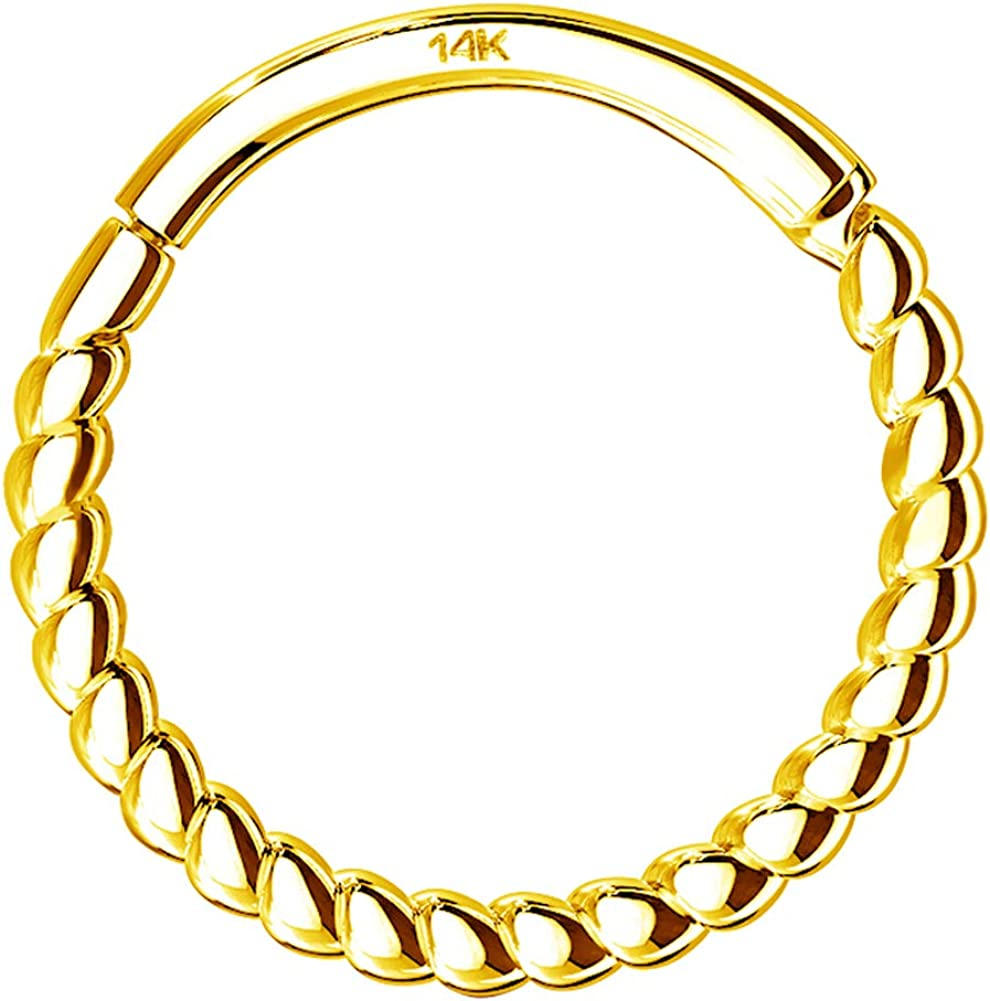 OUFER Helix Earring Hoop 14K Solid Gold Daith Tragus Helix Cartilage Earring 16G Septum Piercing Hinge Segment Rings Hoop