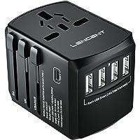 LENCENT Universal Travel Adaptor with UK/USA/EU/AUS Worldwide Travel Charger Plug, 4 USB Ports and 1 Type C…