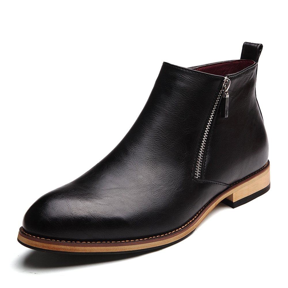 SONLLEIVOO Chelsea Boots Men Leather Waterproof Winter E559