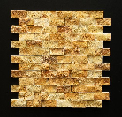 Oracle Gold/Yellow 1 X 2 Split Face Travertine Mosaic Tile