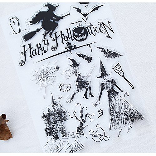 Scrapbook Ink Rubber Clear Stamp Set For DIY Card Making (halloween witch) -