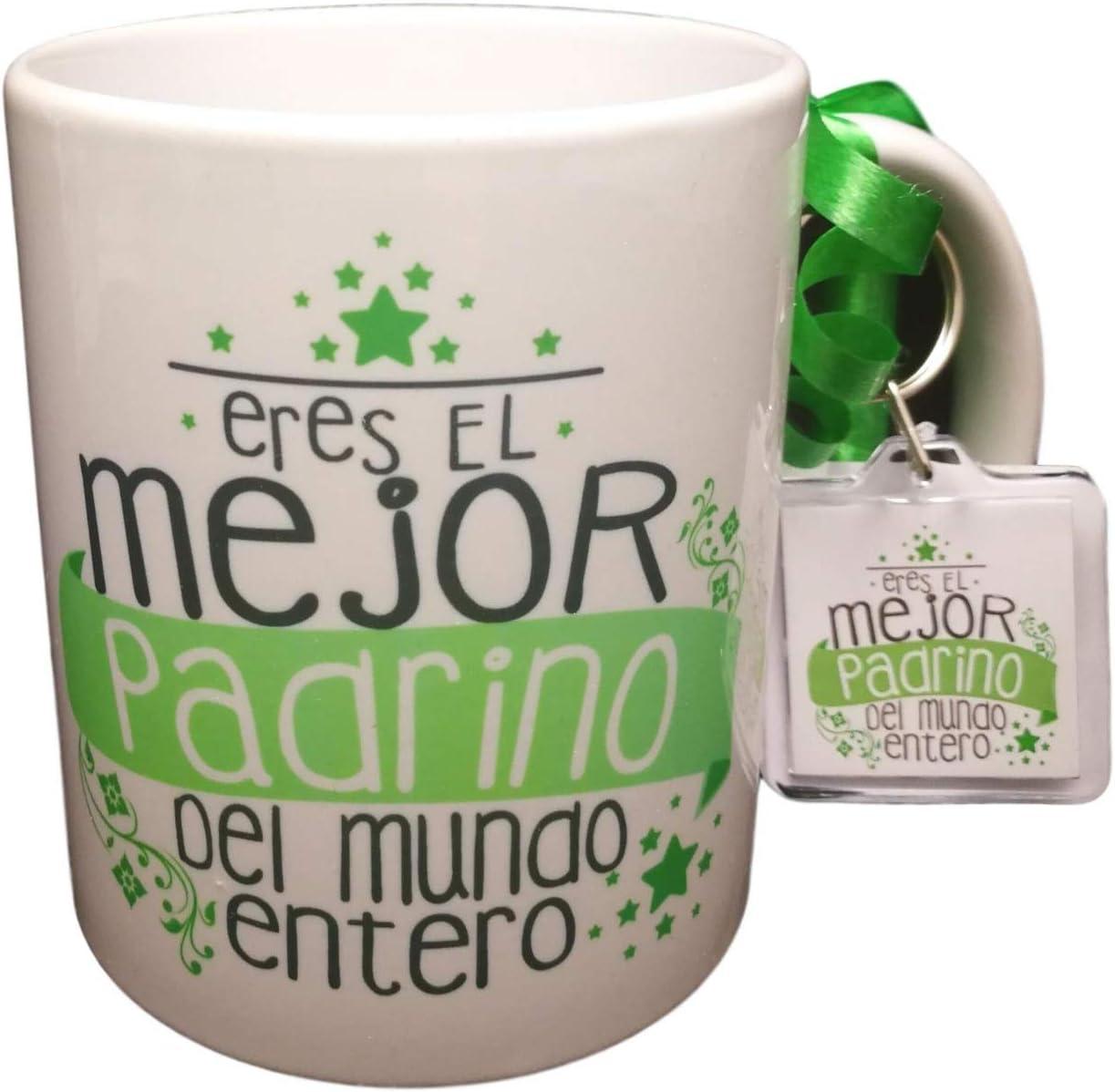 Taza con Llavero de Regalo, con Frase Eres EL Mejor Padrino del Mundo Entero Regalo Padrino. Regalo Pascua. Taza Original
