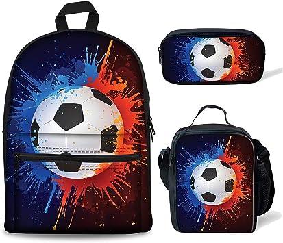 HXA Conjunto de Mochila para niños con Bolsa de Almuerzo + Estuche Mochila Escolar Estampada de fútbol con Agujero para Auriculares para Estudiantes de Primaria de 6 a 12 años,B: Amazon.es: Deportes