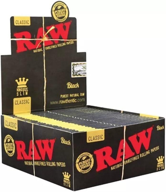 RAW Black King Size Slim Classic-Lote de 50 libritos de 32 Hojas, Papel