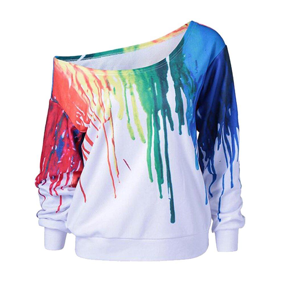 Sudaderas Mujer Sudadera Sin Hombros Estampadas Camisetas Manga Larga Sudaderas Oversize sin Capucha Deportivas Chica Jerseys Pullover Cuello Redondo Top Juveniles Bonitas Camisas Blusas Dama