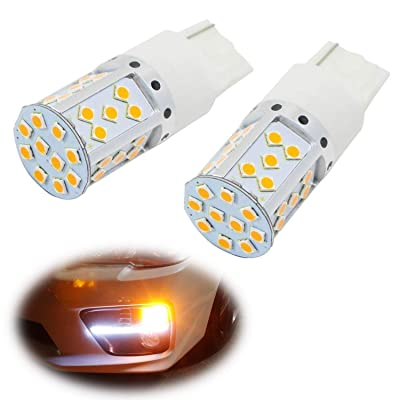 iJDMTOY (2) No Resistor, No Hyper Flash 21W High Power Amber 7440 W21W T20 LED Bulbs Compatible With Car Front or Rear Turn Signal Lights: Automotive