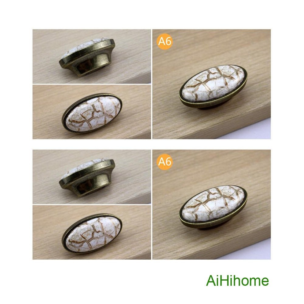 10pcs Kitchen Cabinet Drawer Ceramic Knobs Pulls with Bronze Vintage Antique for Cupboard,Furniture,Wardrobe,Dresser (A6: L2.2inchxW1.2inch)
