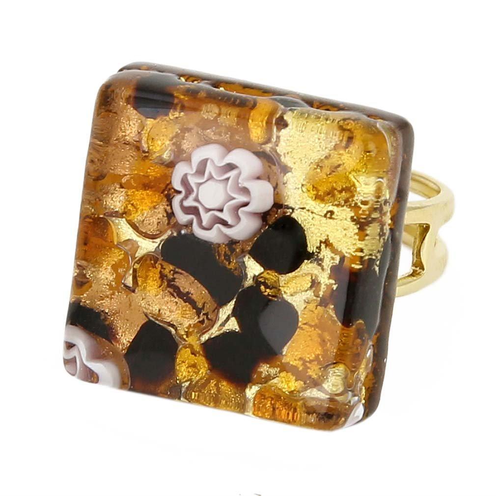 GlassOfVenice Murano Glass Venetian Reflections Square Adjustable Ring - Topaz Gold