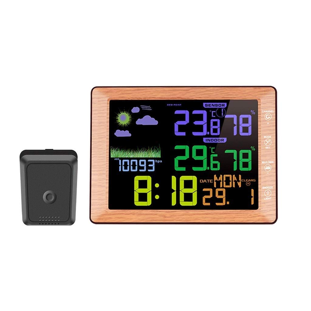 RTYUU Temperature and Humidity Meter Indoor and Outdoor Wireless Color Screen Weather Clock Voice Control Clock (Color : Wood Grain)