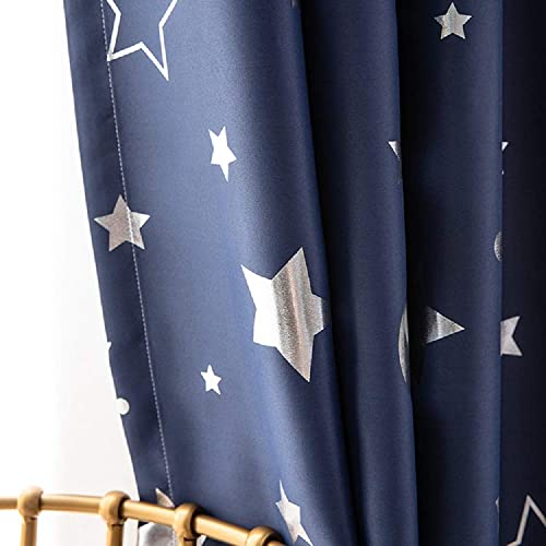 TIYANA Navy Blue Curtain Panel Room Darkening Thermal Insulated with Stars and The Moon Printed Grommet Top, 1 Panel 75 inch Wide by 96 inch Long
