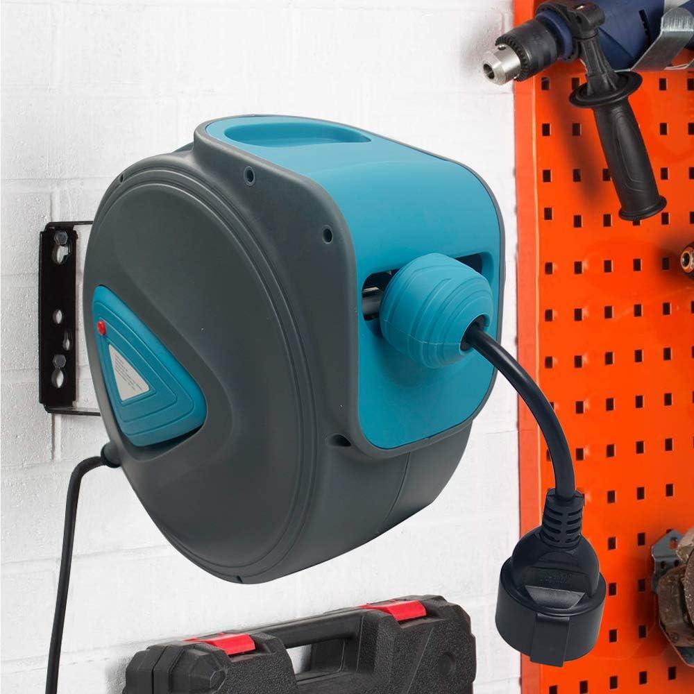 sistema de gesti/ón de cables autom/ático con soporte de pared giratorio 180/° y material de montaje enrollacables autom/ático de Aufun 20 m