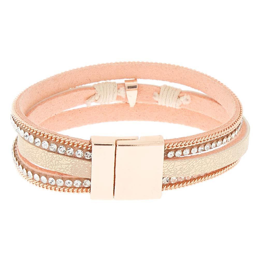 Claires Girls Embellished Key Charm Wrap Bracelet Blush