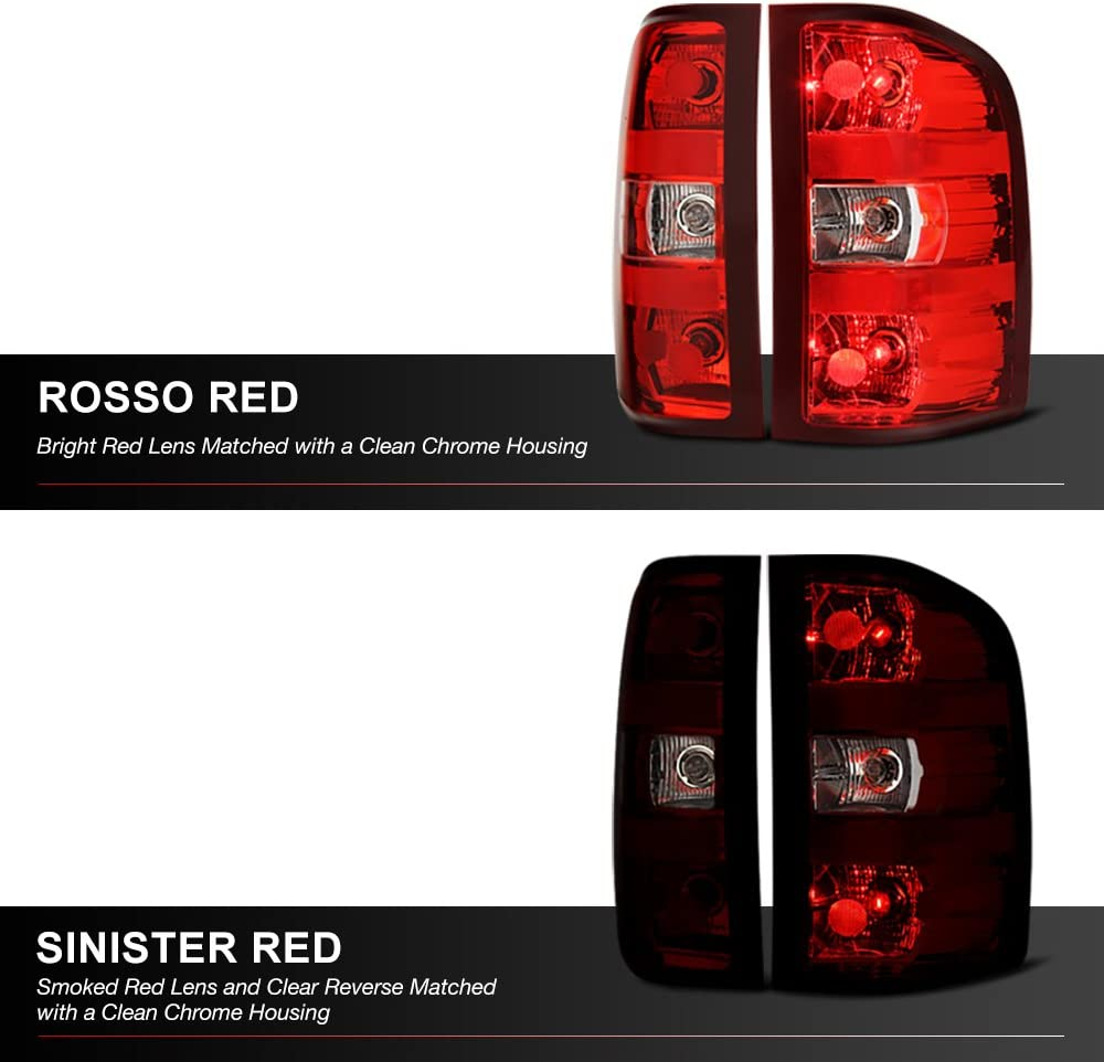 Full-LED License Plate Lamp Housing Replacement Bundle For 2007-2013 Chevy Silverado 1500 2500HD 3500HD Pickup Truck VIPMOTOZ Smoke Tinted Red Lens OE-Style Tail Light