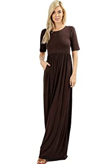 ce8f3353b51a Zenana Premium 7011 Casual Women's Long Maxi T-Shirt Dress with Half Sleeves  and Pockets