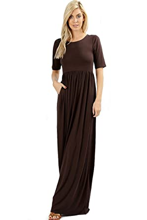 a7331d08660 Zenana Premium 7011 Casual Women s Long Maxi T-Shirt Dress with Half  Sleeves and Pockets