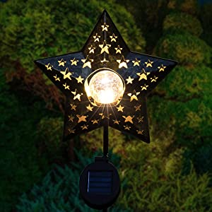 Star Solar Lights Outdoor Garden - Crackle Glass Globe Metal Garden Stakes Lights Waterproof Solar Decorative Lights for Patio, Lawn, Pathway, Yard (1 Pack)