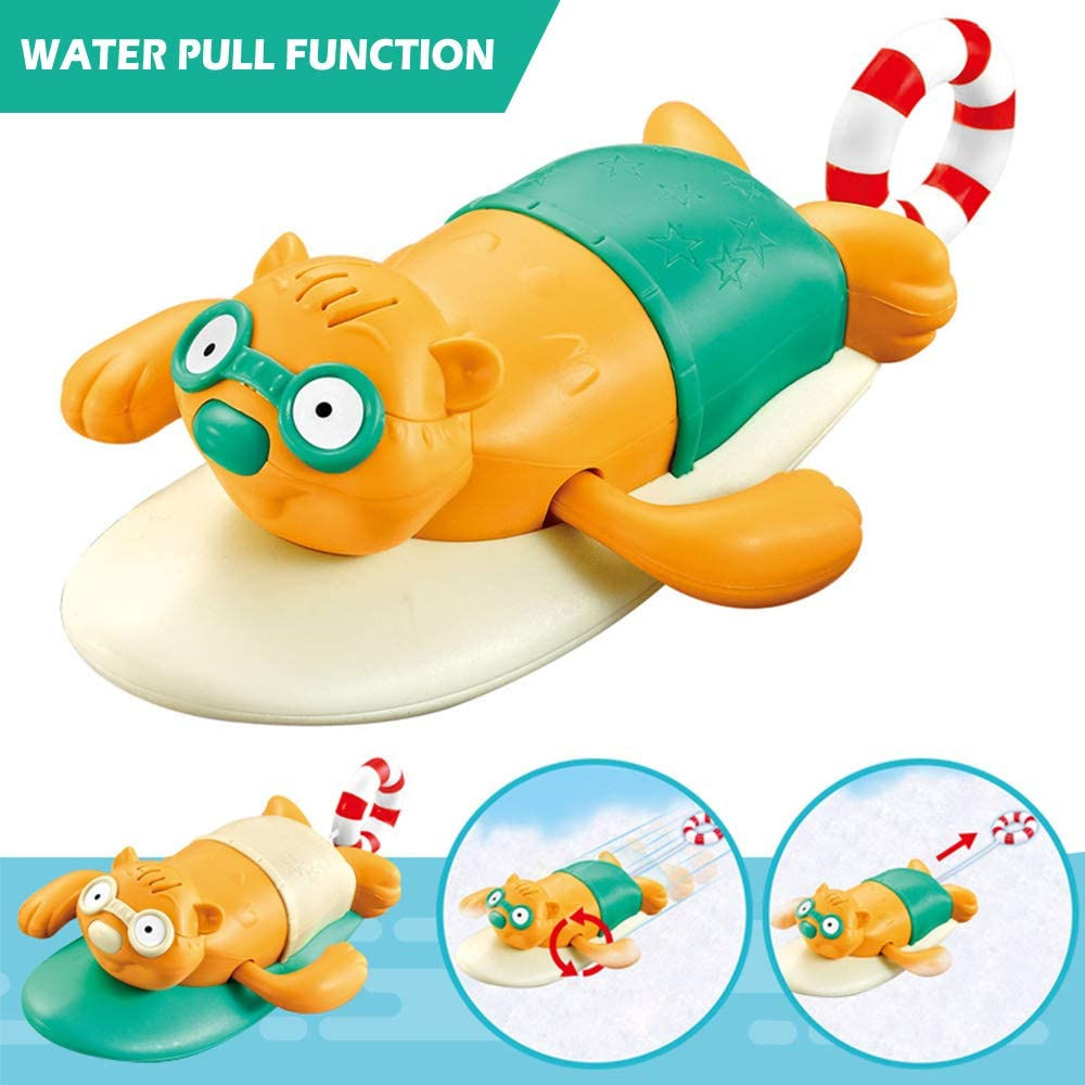 VCOSTORE Pull /& Go Beaver Bath Toy,Wind Up Swimming Cute Baby Bath Toys for Kids Shower Time Pool Water Fun