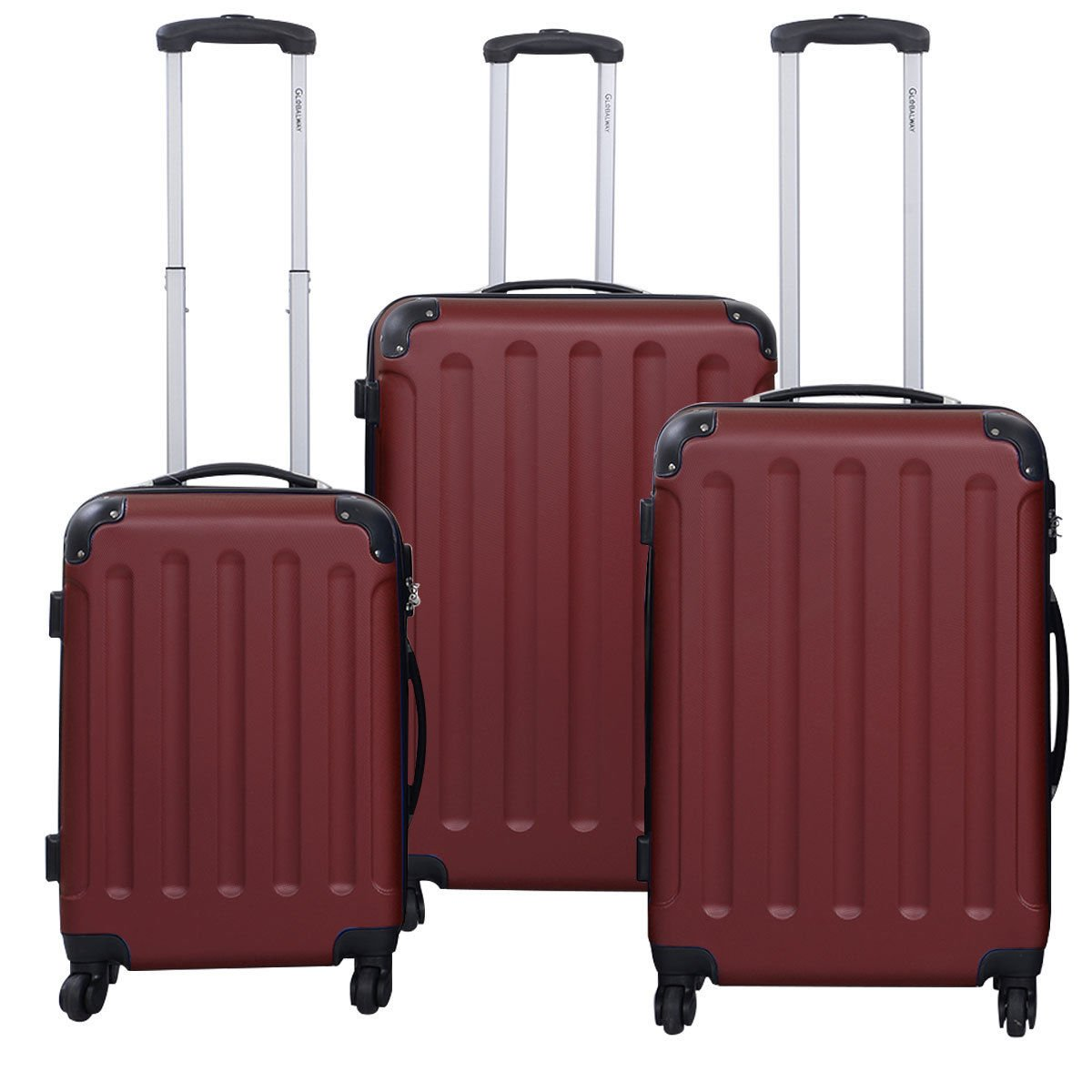 3 Pcs Luggage Travel Set Bag ABS+PC Trolley Suitcase Wine red by tamsun