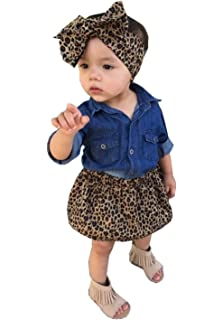 4658230f4 Amazon.com  Cute Baby Boy Girl Blue Jean Shirt +Leopard Print Short ...