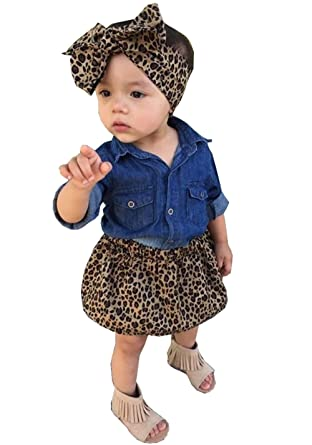 2a1d2472f Amazon.com: Aliven 3pc Baby Girl Blue Jean Shirt + Leopard Print Short  Skirt + Headband Outfits Set Clothes: Clothing