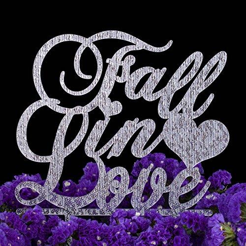 LOVENJOY Gift Box Pack Fall in Love Monogram Cake Decoration Topper (6-inch, Silver Glitter)