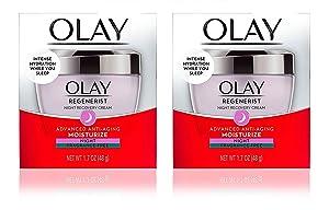 (Pack of 2) 0LAY Regenerist NIGHT RECOVERY Cream - FRAGRANCE FREE - 1.7 Fl Oz (48 g) EACH - Advanced Anti-Aging Moisturize