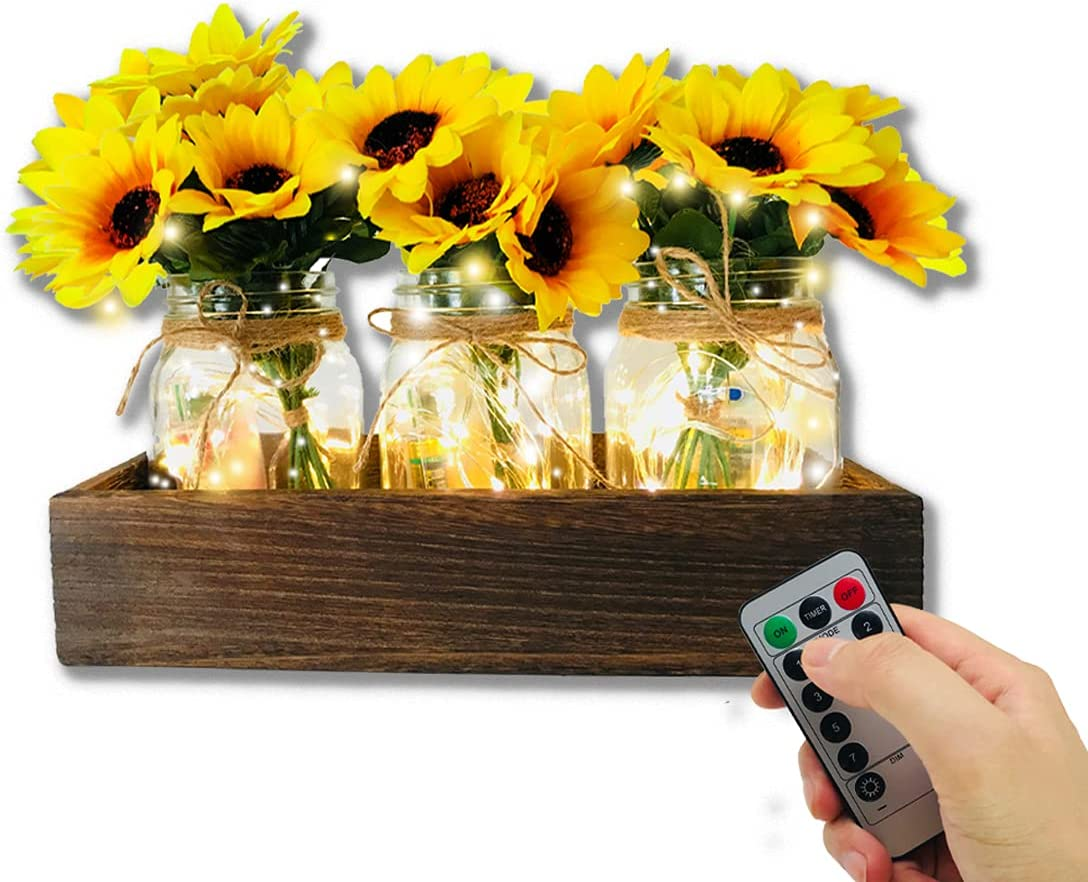 Mason Jar Centerpiece Decorative Wood Centerpiece Tray with Remote Control Led & Sunflower Artificial Flowers Rustic Farmhouse Table Decor for Kitchen Wedding Party