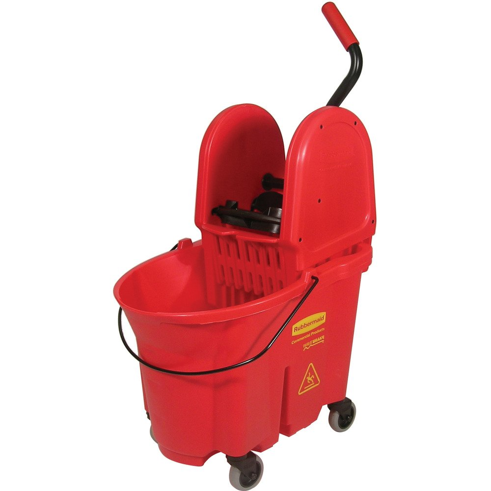 Rubbermaid Commercial WaveBrake 35 QT Down-Press Bucket and Wringer, Red, (FG757888RED)