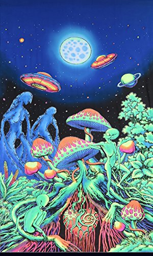 Psychedelic Tapestry 'Alien Shrooms' - Hand-painted and silkscreen batik wall-hanging - UV active wall-hanging -Trippy wall art - Black light active trippy tapestry - Fantasy tapestry