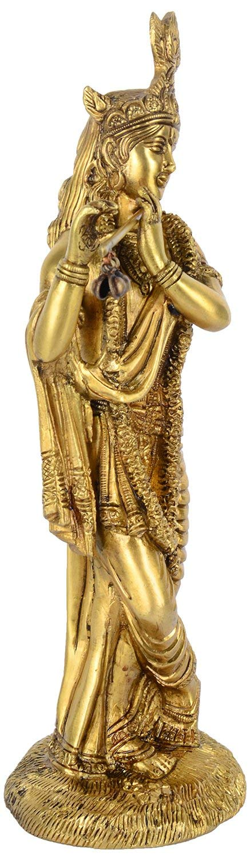 Fasherati Idole en Laiton Motif Seigneur Krishna 26 cm x 9 cm x 8 cm Dor/é