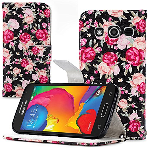 Galaxy Avant (G386T) Case, Cellularvilla [Stand Feature] [Slim Fit] Wallet Case, Premium PU Leather Case Flip Cover [Card Slots] For Samsung Galaxy Avant G386T (T-Mobile/ Metro PCS) (Rose Floral)