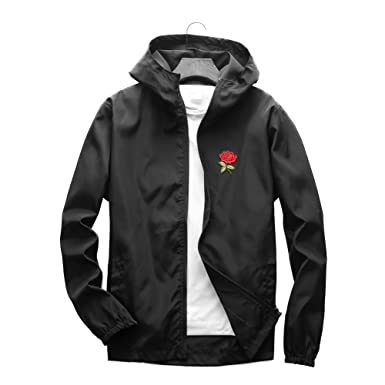 255add940a00 Rose Floral Jacket Windbreaker for Men Women Waterproof Windproof College  Jacket (Black,Small)