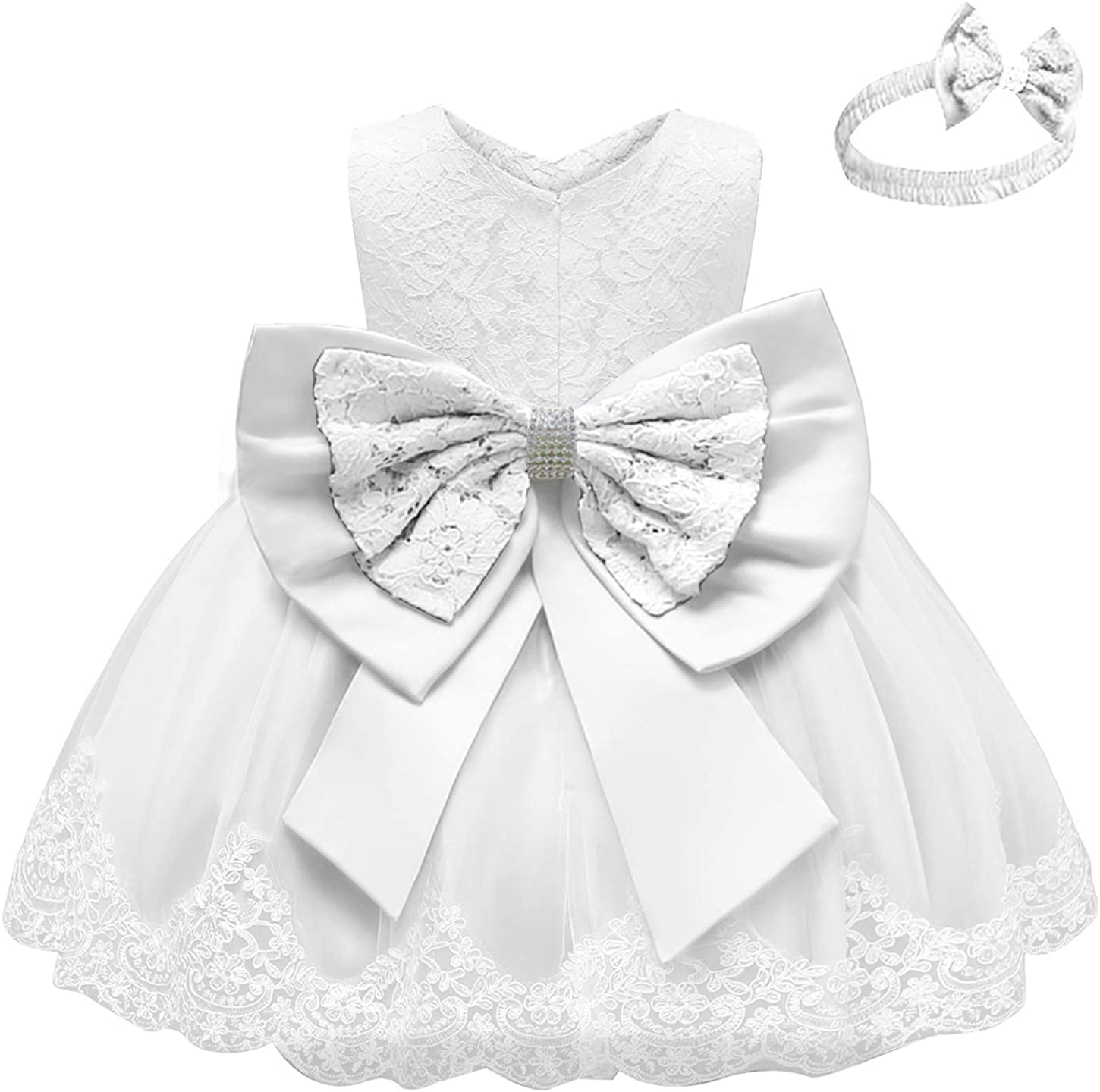 Happy Cherry Baby Girls Formal Dresses Infant Bowknot Tutu Lace Gown Party Dress 0-3T