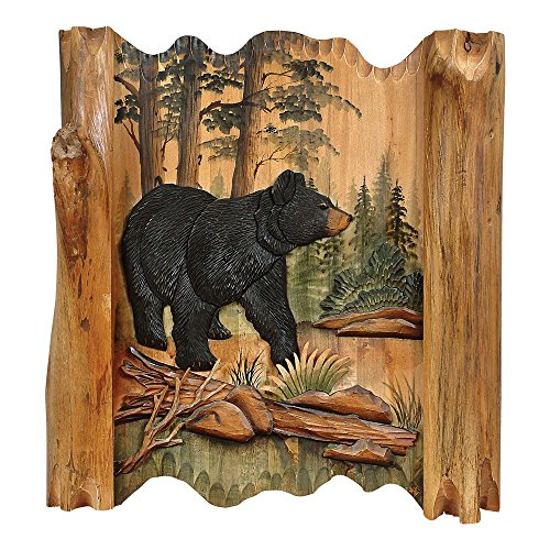 Black Forest Décor Black Bear Forest Carved Wood Lodge Wall Art - Lodge Decor
