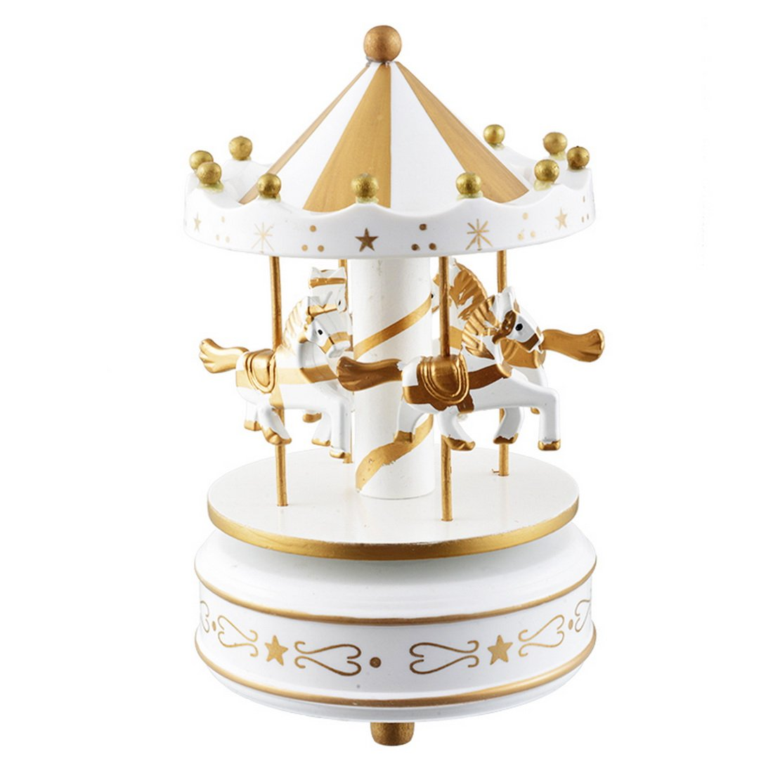Hoomall Wooden Merry Go Round Horse Carousel Music Box for Gift, White Gold