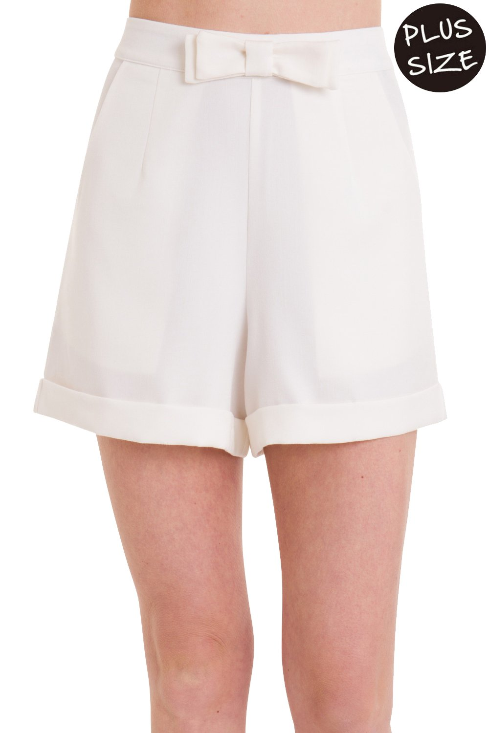 Banned Betsy Plus Size Vintage Style Shorts - Navy White - White/UK-22